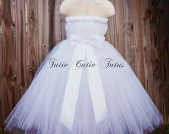 Elegant White Tutu Dress with Wide White Satin Sash NB-8