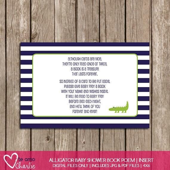 Alligator Baby Shower Book Poem Insert Instant By