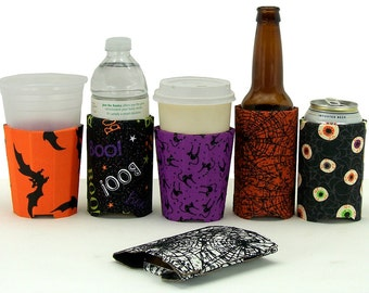 Beverage Insulator #Halloween Fabric Pocket Huggie-Reusable,Cold/Hot Drinks, Beer, Soda, Coffee,Solo Cup,3 Sizes- Cup, Can, Beer Bottle