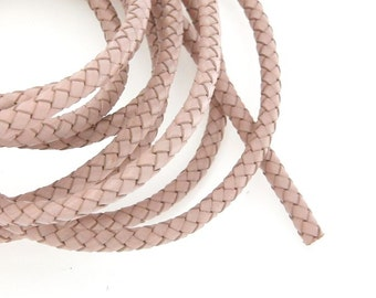 6mm Braided Leather Cord, Apricot Genuine Leather Cord, Round Leather Cord For Leather Bracelets, Pkg of 1 meter, D0FB.AP0D.L1M