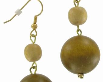 1980s Vintage Brown Wood Dangle Beaded Pierced Earrings