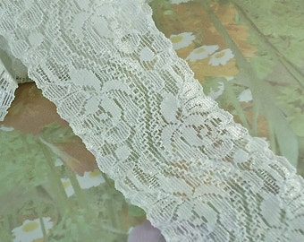 "3yds Stretch Lace Trim White 1 3/4"" Wide Floral Design Flower Trim For lingerie Garter Elastic Lace Headbands Elastic Lace by the yard cute"