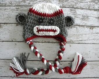 POPULAR Sock Monkey hat. Sock Monkey photo prop. Crochet sock monkey beanie grey and red.