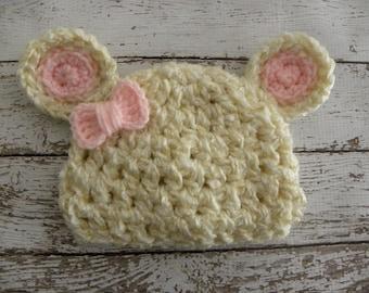 Baby girl bear hat cream and pink. Newborn baby girl pink bow bear hat. Baby bear hat photo prop.