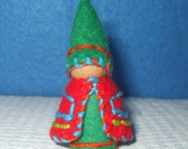 Wee Little Elf, Eco-Friendly, Waldorf Inspired,Wool and Wood Peg People, Dollhouse Doll, Nature Table