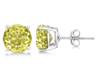 Lemon Quartz Stud Earrings Sterling Silver Prong Set (3.40ct)