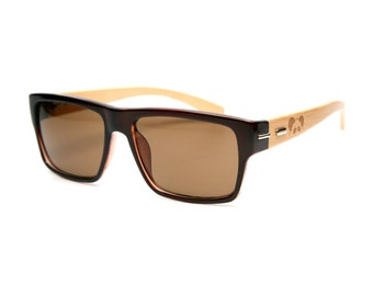 Hacienda Brown Bamboo Sunglasses - Wood Sunglasses - Personalized Sunglasses - Custom Sunglasses - Groomsmen Gift - Personalized Gift