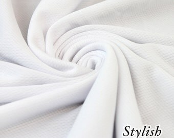 White Sports Mesh Fabric, Dimple Mesh Fabric by the yard, Sports Fabric, Athletic Apparel, Sports Jersey Fabric - 2001