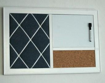 Denim French Memo Board, Whiteboard or Chalkboard, Corkboard Bulletin Board Dorm  Organizer