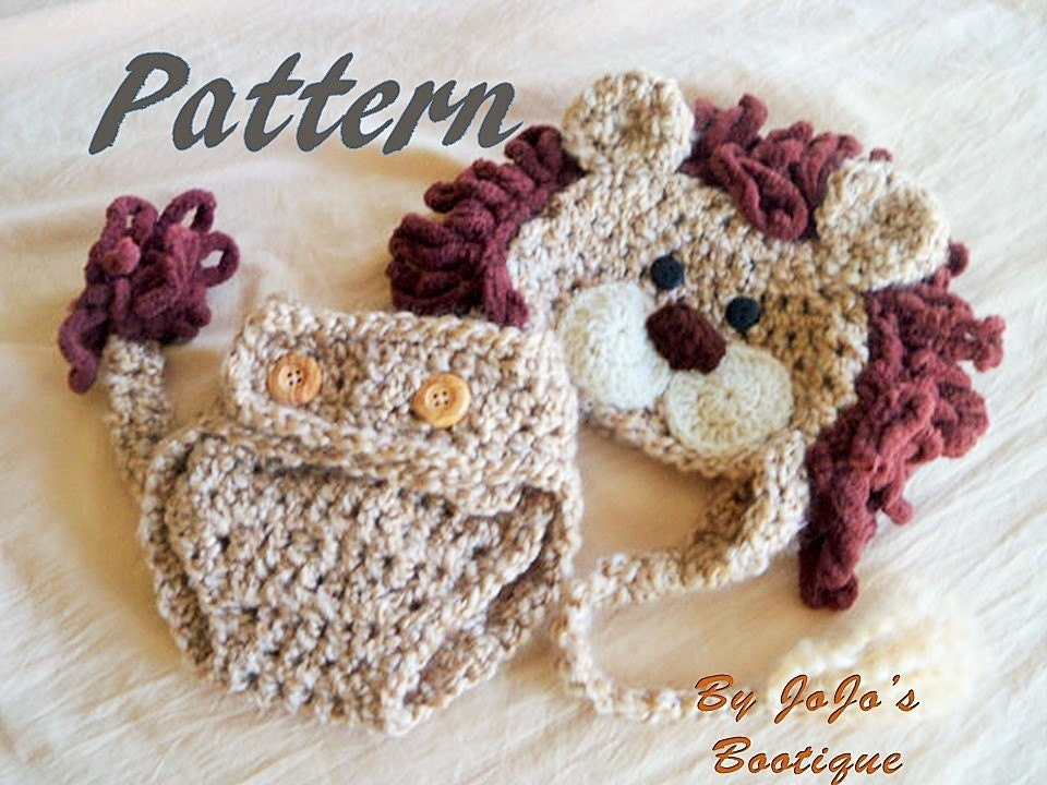 Pdf Baby Lion Hat Pattern With Diaper Cover And Tail Baby Lion Hat
