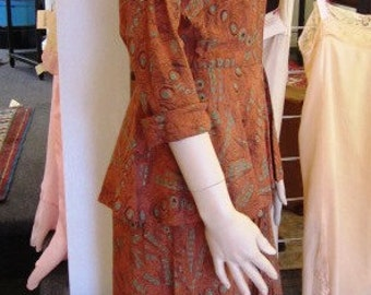 Vintage Rust Print Rayon Dress with Peplum, ca 1940s
