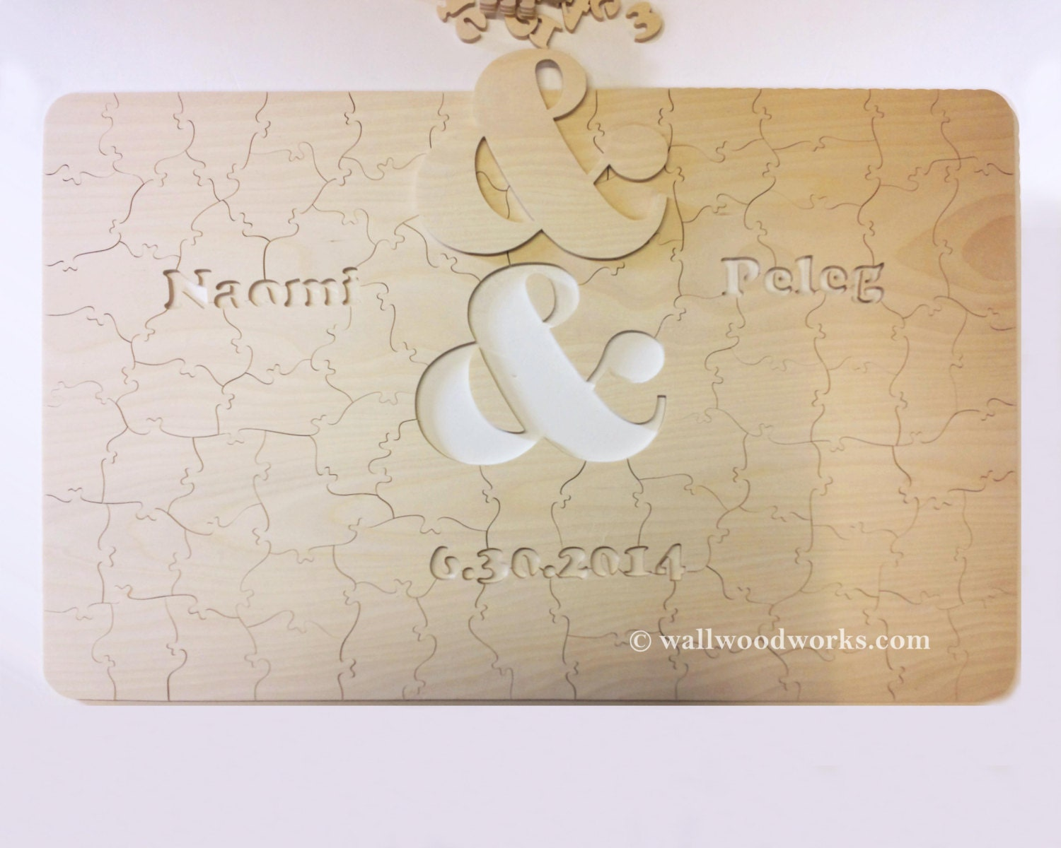 wedding puzzle guest book natural wood ampersand cutout