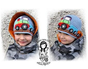 Crochet PATTERN, Hat with Little Train, Crochet Beanie, Cap, For Boys, DIY Pattern 86