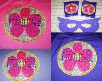 FUN Flower Power  Emblem Set- SuperHero Cape Personalized for your 'lil Hero