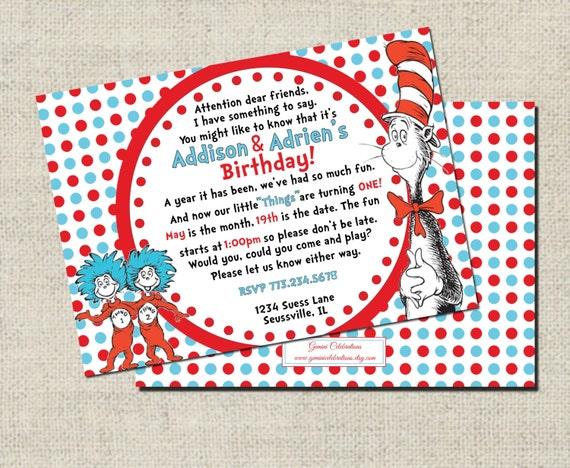 Thing 1 Thing 2 Twin Dr. Seuss Birthday Invitation, Printable Invitation, Personalized Thing 1 Thing 2 Twin Invitation