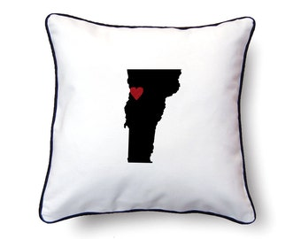 Vermont Pillow - 18x18 - Vermont Map - Personalized Name or Text Optional - Wedding - Housewarming Gifts