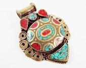 Ethnic Turquoise Coral Tribal Brass Pendant - No:44 - Tibetan Nepalese Handmade