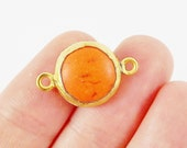 Small 14mm Orange Dyed Turquoise Connector - 22k Matte Gold plated Bezel - 1pc