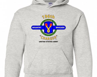 "196th Infantry Brigade "" Charger"" Battle & Campaign Hoodie Sweatshirt w/Pockets."