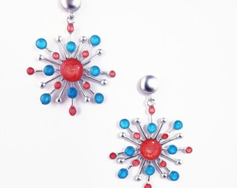 Xmas Presents Ideas,Red Dangle Earrings for Women, Blue Silver Dangles, Multicolored Jewelry, Bright Statement Earrings,Xmas Gifts for Women