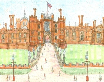 HAMPTON COURT PALACE Art Print, Royal Architecture, Historic Watercolor England, Tudor Painting, Richmond upon Thames, London Print Britain