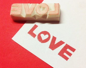 Love Rubber Stamp - wedding stamp, heart stamp, handcarved stamp, hand carved stamp, love stamp, wedding rubber stamp, engagement stamp