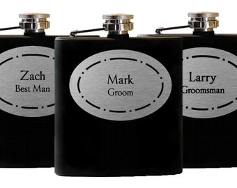 11 Personalized Groomsmen Gifts - Custom Engraved Wedding Flasks Liquor Flasks - Set of 11, Groomsman Best Man Gift