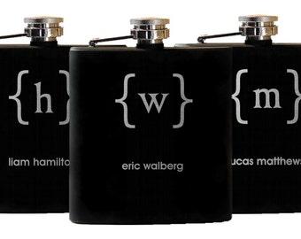 10 Flasks, Wedding Party, Personalized Groomsmen Gifts, Etched Flasks, 10 Laser Engraved Flasks