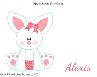 Girl Bunny Note Cards Set of 10 personalized flat or folded cards