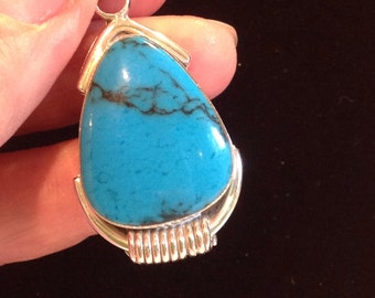 Vintage Mexican sterling turquoise pendant