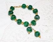 Bracelet, Green, Quartzite, Gold Filligree Beads, tassle or dangle, lantern shaped quartz, Ooak, etsyeur, uk, kent, unique gift, TEMPT Team