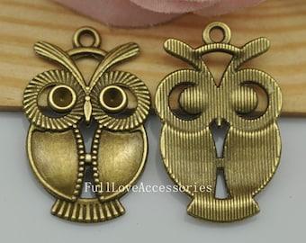 5pcs Antique Brass Cute Owl Charms Connector 21x34mm Antique Brass Owl Charms Pendant