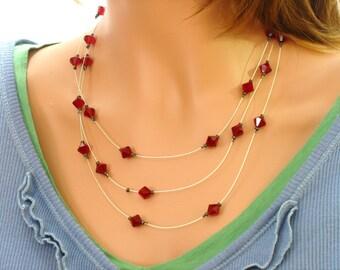 Ruby Red Swarovski Crystal Necklace
