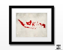 Indonesia Map Print - Home Town Love - Personalized Art Print