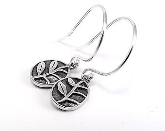 Sterling Silver Earrings -  Bali Leaf Charms