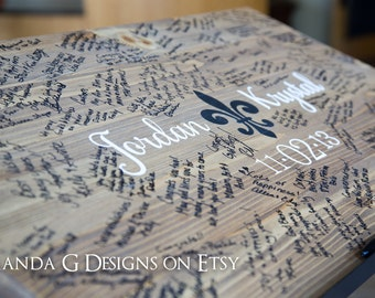 Wedding Sign Guest Book Alternative Hand Painted Fleur De Li design, Wedding Guestbook, Wood Sign