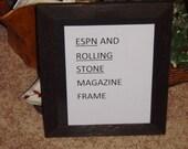 ESPN Rolling Stone frame solid rustic cedar magazine size dark finish country rustic display