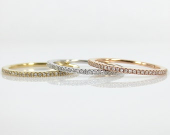 Set of 3 - Micro Pave Diamond Stacking Eternity Bands in 18k Gold