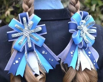 Personalized custom design hunter equestrian horse show bows in your colors and print