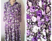 Vintage Purple Floral Button Front Shirt Dress