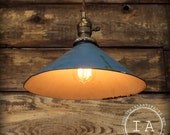 Vintage Industrial Ceiling Pendant Lamp Blue Enamel Steel Shade Hanging Light with Canopy Kit