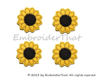UNCUT Sunflower felt  applique embellishments (4)
