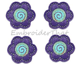 UNCUT RTS Purple Flower applique embellishment felties(4)