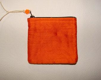 Orange Dupioni Silk mini Pouch handmade by me, Miss Patch