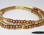 Seed and Noodle Bead Stretch Bracelets - Set of 3 - Shades of Copper Seed Beads w/Gold Noodle Beads (SN103)