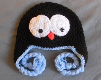 Crochet Boys or Girls Penguin Earflap Hat -Black 9 colors to choose ANY size Baby, Child, Adult