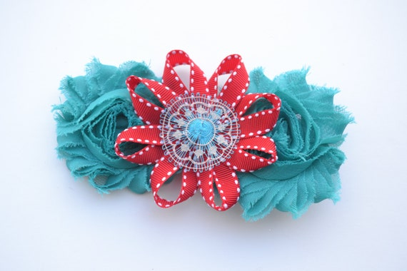 https://www.etsy.com/listing/173090622/turquoise-and-red-hair-clip-ooak-hair