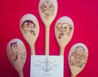 5 Piece Powerpuff Girls Wooden Utensil Set
