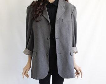 70s Vintage Quality Grey Overcoat Jacket for Men or Women