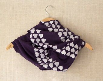 Infinity Scarf, Valentines Gift, White, Heart, Purple Scarf, Circle Scarf, Jersey Scarf, Cowl, Hand Printed, Screen Print, Valentines Day